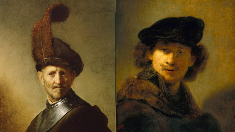 Man in a Gorget and Plumed Cap, 1631 - Self-Portrait at the Age of 28, 1634