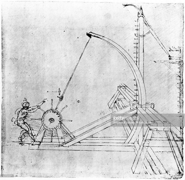 Technical drawing of siege catapult by Leonardo da Vinci, 1470 ...