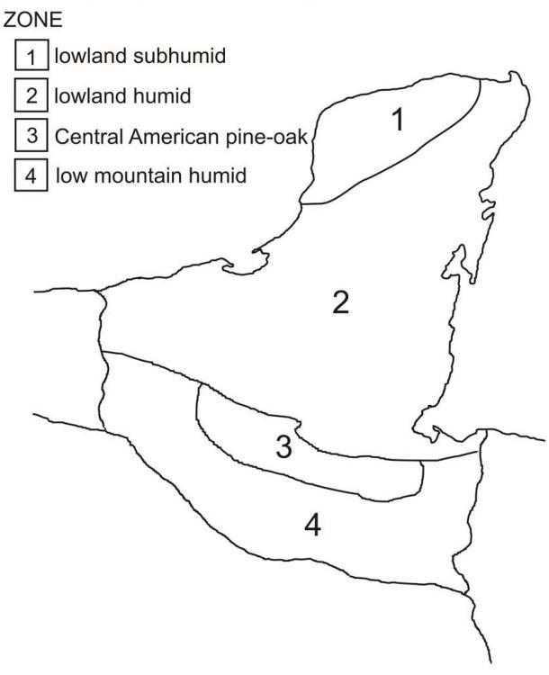 Map of Maya environmental zones (after Hartshorn 1988)