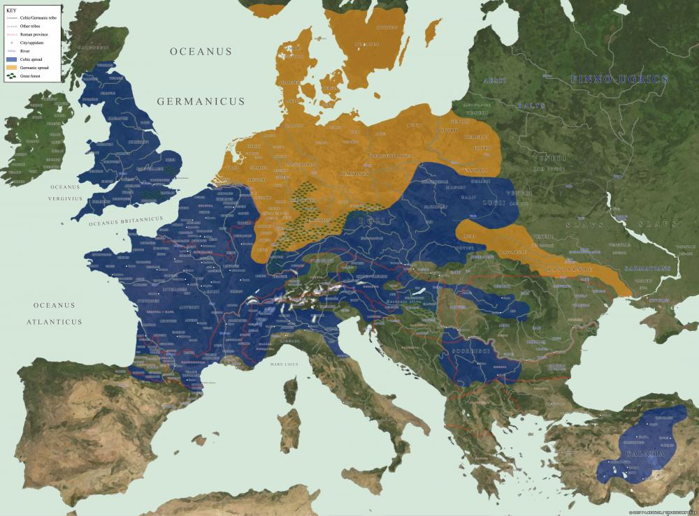 Map of Barbarian Europe 52 BC