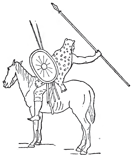 drawing of a Numidian cavalryman, in this instance sporting a shield and animal skin, about the maximum defense for a Numidian.
