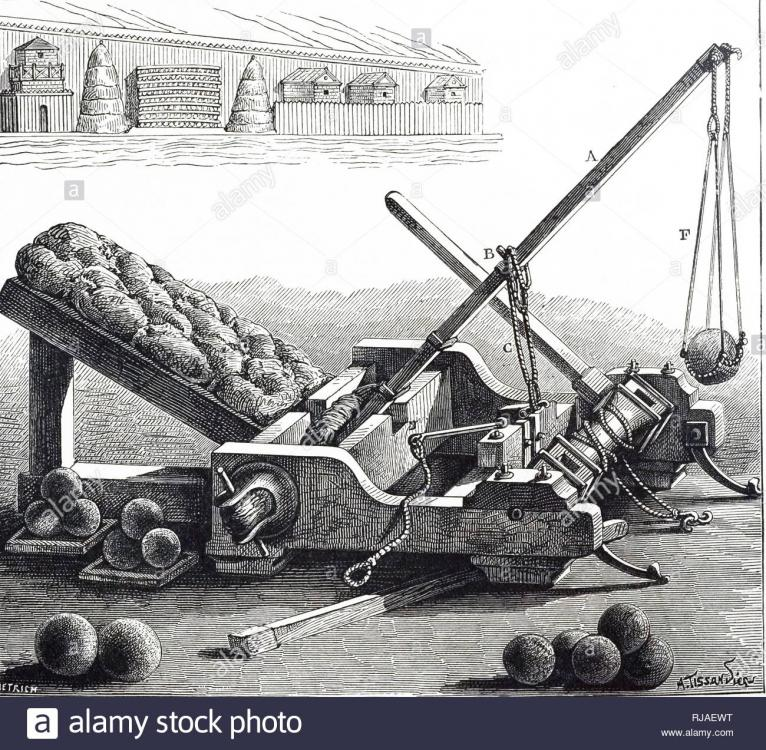 An engraving depicting the reconstruction of Onager, an imperial ...