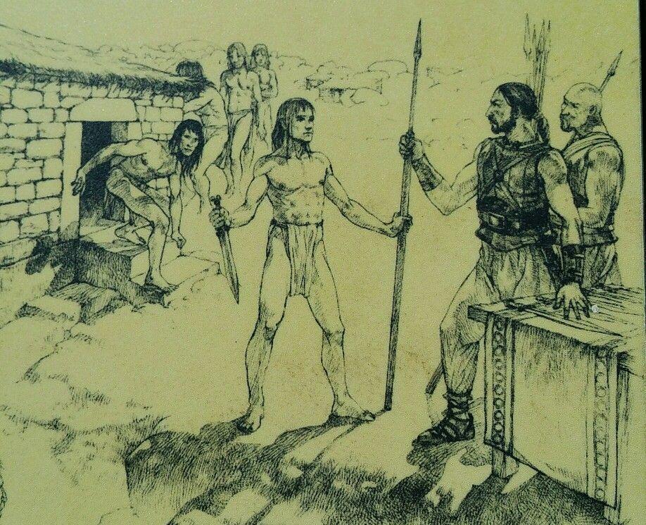 Guerreros vettones saliendo de la sauna ritual del castro de Ulaca ...