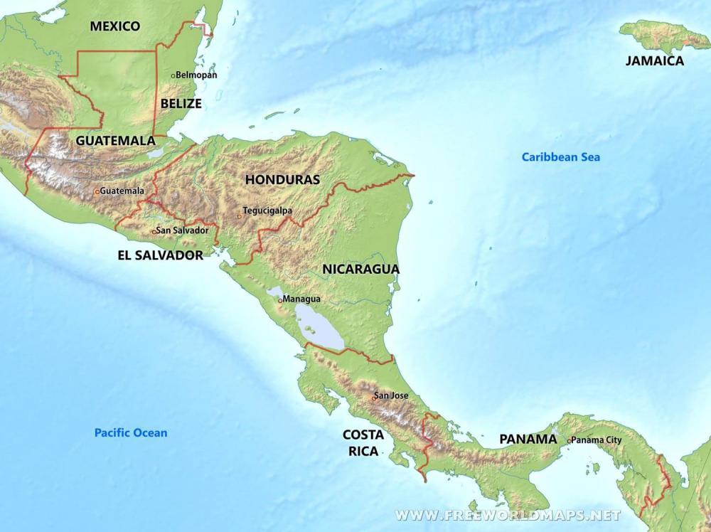 Resultado de imagen para central america mountains map