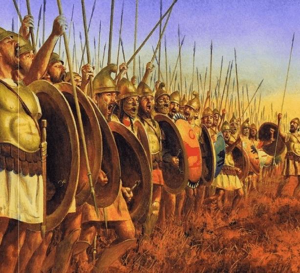 Ciudadanos atenienses preparándose para la batalla