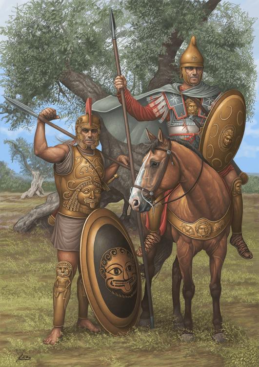 Guerreros macedonios siglo III AC. Jinete y hoplita, ambos llevan la cabeza de la gorgona que al parecer daba la divina protección. Lo estraño es ver al jinete con un escudo. Autor Angel García Pinto