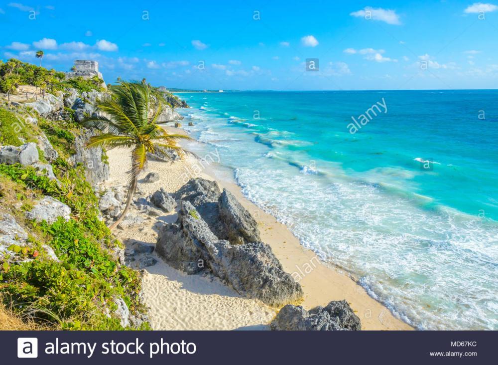 mayan-ruins-of-tulum-at-tropical-coast-el-castillo-temple-at-paradise-beach-mayan-ruins-of-tulum-quintana-roo-mexico-MD67KC.jpg