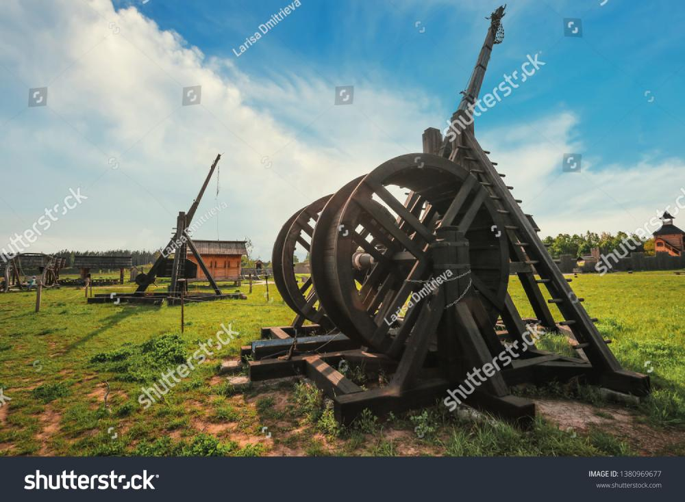 Kopachiv, Ukraine - May 2016. Reconstructed ancient weapons - combat Onager (Catapult) and Trebuchet  in the historical park of Kievan Rus.