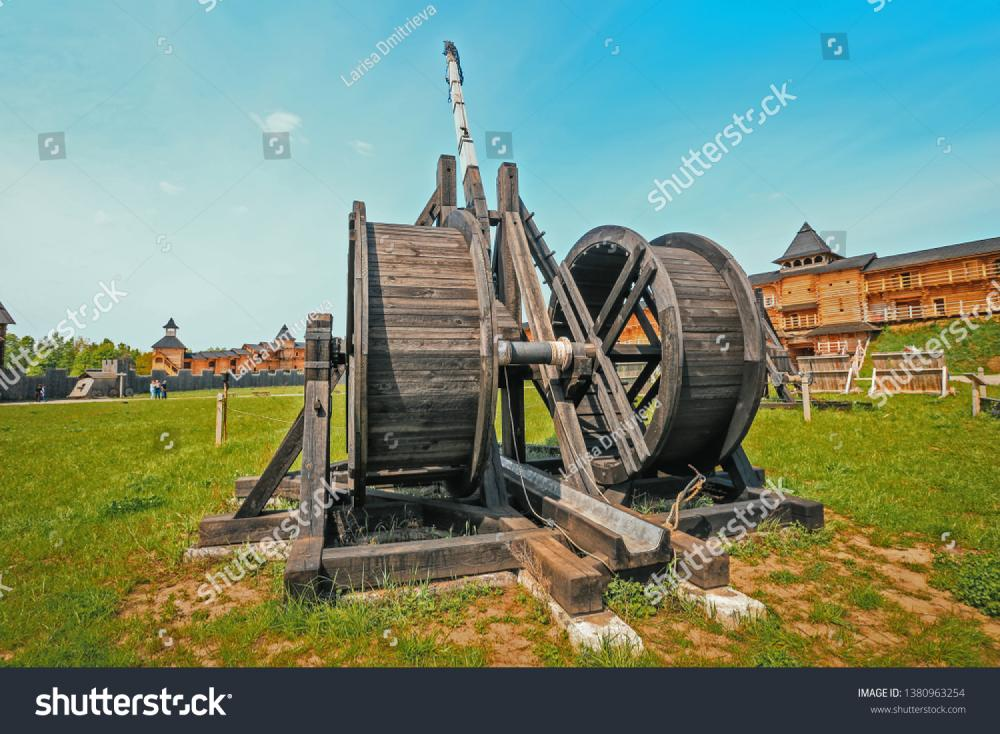 Reconstructed ancient weapons - combat Onager (Catapult)  in the historical park of Kievan Rus, Ukraine.