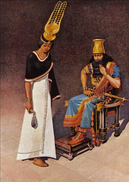 Queen Amun-dyek-het high priestesss of Hathor bows before her captor King Esarhaddon of AssyriaB.jpg