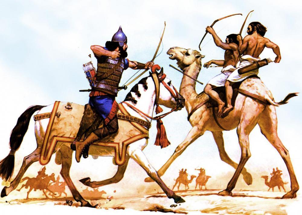 Angus McBride Nabataean camel archer.jpg