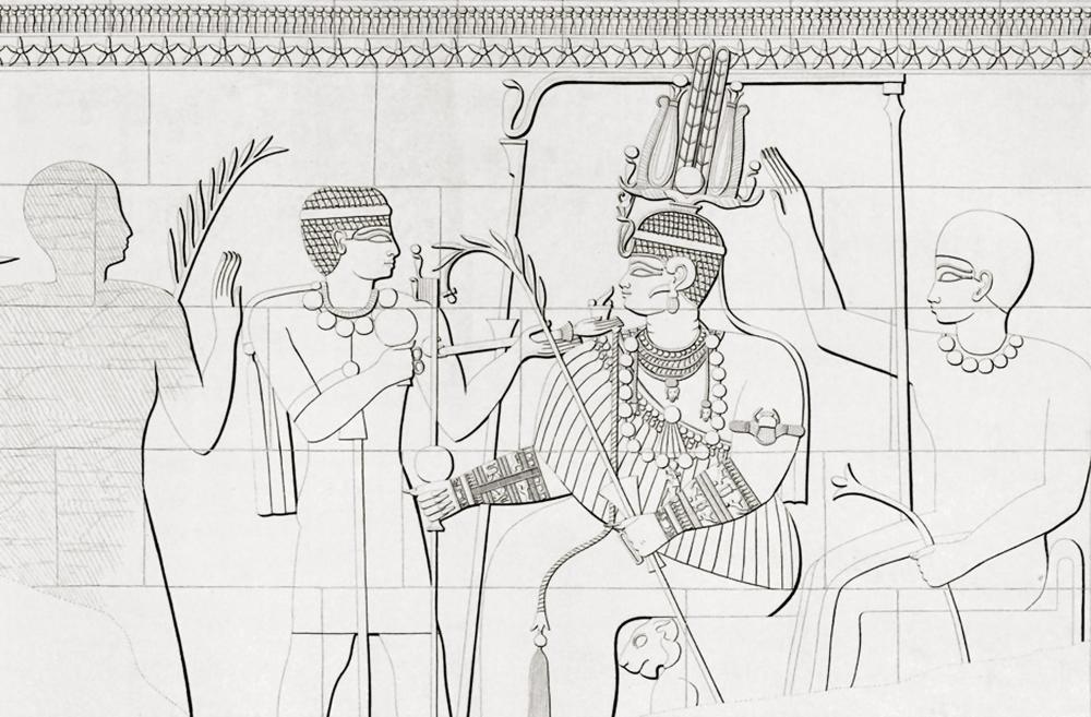 The kingdom of Kush kushite relief cut stone wall carving Sudan Richard Lepsius aethiopen aethiopien denkmaeler begerauich begrawiya royal necropolis of Meroe queen amanishakheto ritual incense noblewomen prince.jpg