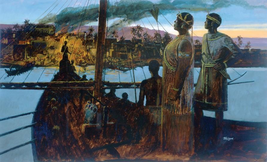 21 Queen Amanirenas and her son Akinidad watch a Roman fort burn.jpg