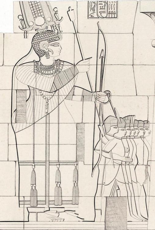The kingdom of Kush kushite relief cut stone wall carving Sudan Richard Lepsius aethiopen aethiopien denkmaeler begerauich begrawiya royal necropolis of Meroe pyr 15 queens amanirenas or amanitore and amanishakheto pylon bound prisoners execution D.j