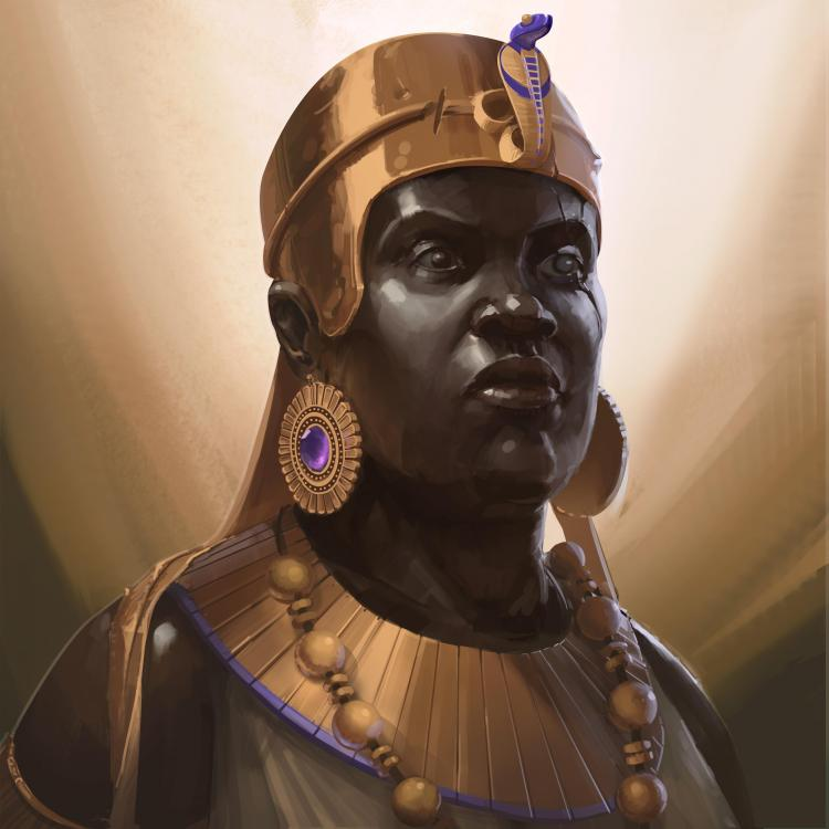 Queen Amanirenas Kingdom of Kush Kushite monarch royal woman lady Sudan Africa History Antiquity art by Victor Rossi.jpg