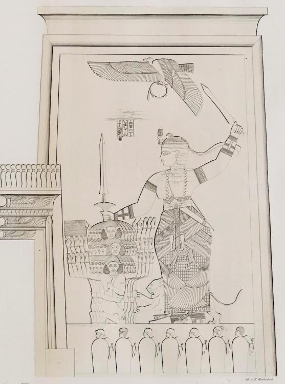 The kingdom of Kush kushite relief cut stone wall carving Sudan Richard Lepsius aethiopen aethiopien denkmaeler Naga Naqa pylon lion temple apedemak king natakamani queen amanitore executing prisoners captives front facade doorway entrance.jpg
