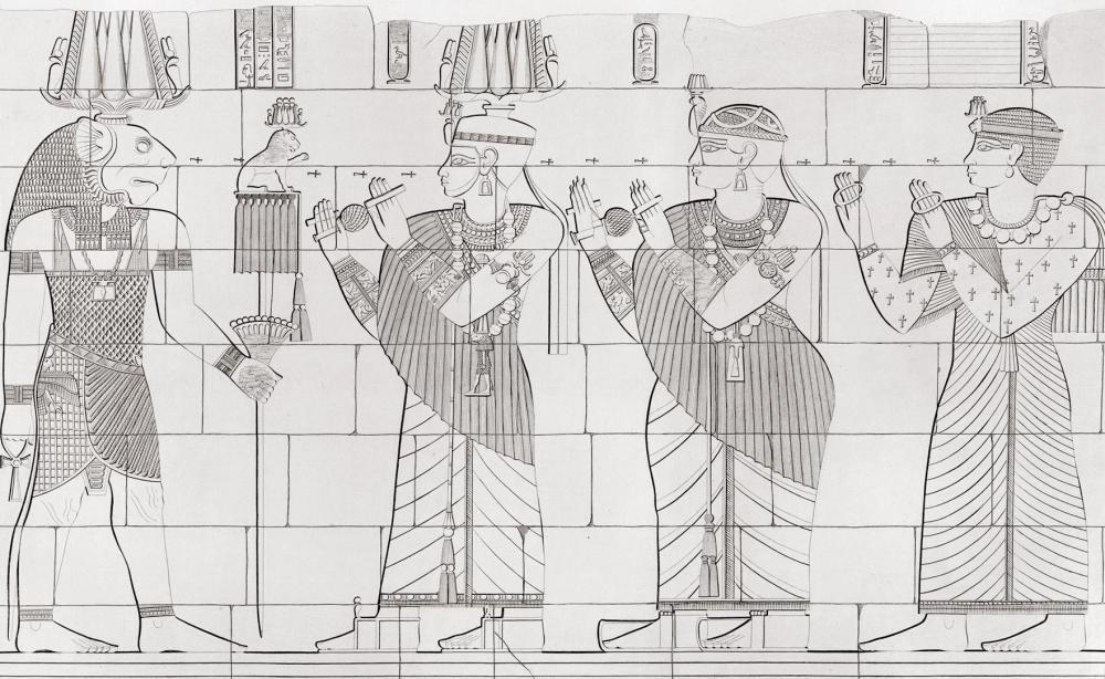 The kingdom of Kush kushite relief cut stone wall carving Sudan Richard Lepsius aethiopen aethiopien denkmaeler Naga Naqa lion temple apedemak king natakamani queen amanitore prince receiving blessings.jpg