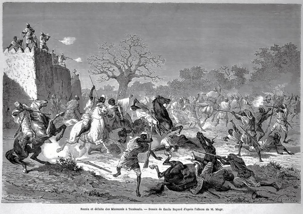 Razzia et défaite des Massassis à Tomboula Bambaras Bamana attack the besiegers muslim mali west africa war conflict army soldiers fighters warririors african cavalry musketeer fort fortress walls battle Kingdom of Kaarta 1868 19th century 2.jpg