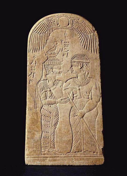 Stela of Queen Amanishakheto and the goddess Amesemi carved from Sandstone Amun temple Naqa.jpg