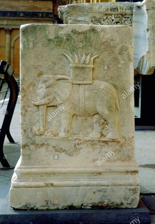 Relief from the base of a Roman statue depicting an elephant. 2nd-3rd century AD. Vatican Museum.jpg