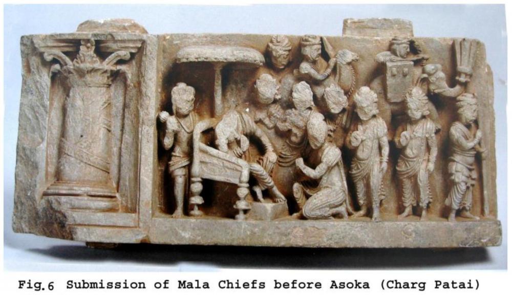 Asoka Ashoka Charg Pate Patai Indian subcontinent Gandhara panel war elephant turret howdah tower Maurya Empire.jpg