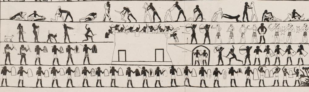 Beni Hasan Newberry First Intermediate Period Egypt tomb no 17 siege fort fortress castle batering ram 2.jpg