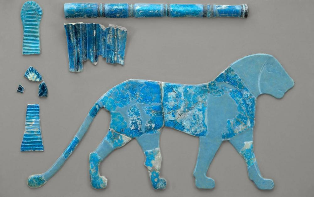 Kush Kushite classic Kerma faience wall inlay of lion 120 cm long from the facade of the Eastern Deffufa.jpg