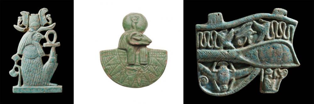 Blue green glazed faience amulets kush .jpg