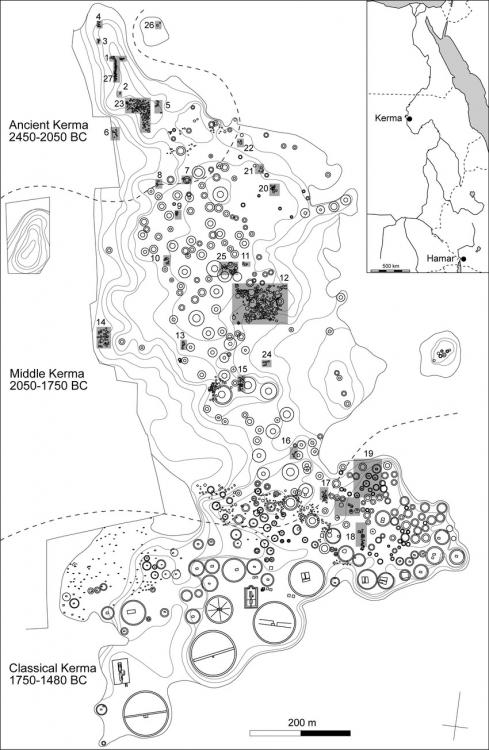 Kerma cemetary map plan Plan of the-Eastern Cemetery at Kerma with the location of the excavated sectors copy.jpg