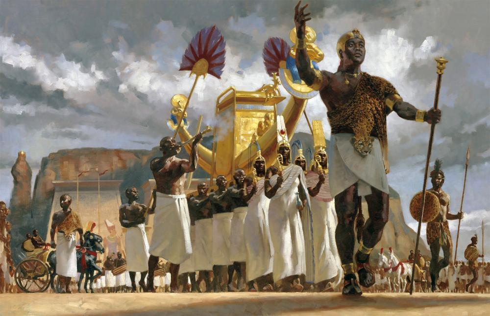 Pharaoh King Taharqa 25th Dynasty Kingdom of Kush Kushite religious procession Jebel Gebel Barkal Napata Sudan African History Gregory Manchess.jpg