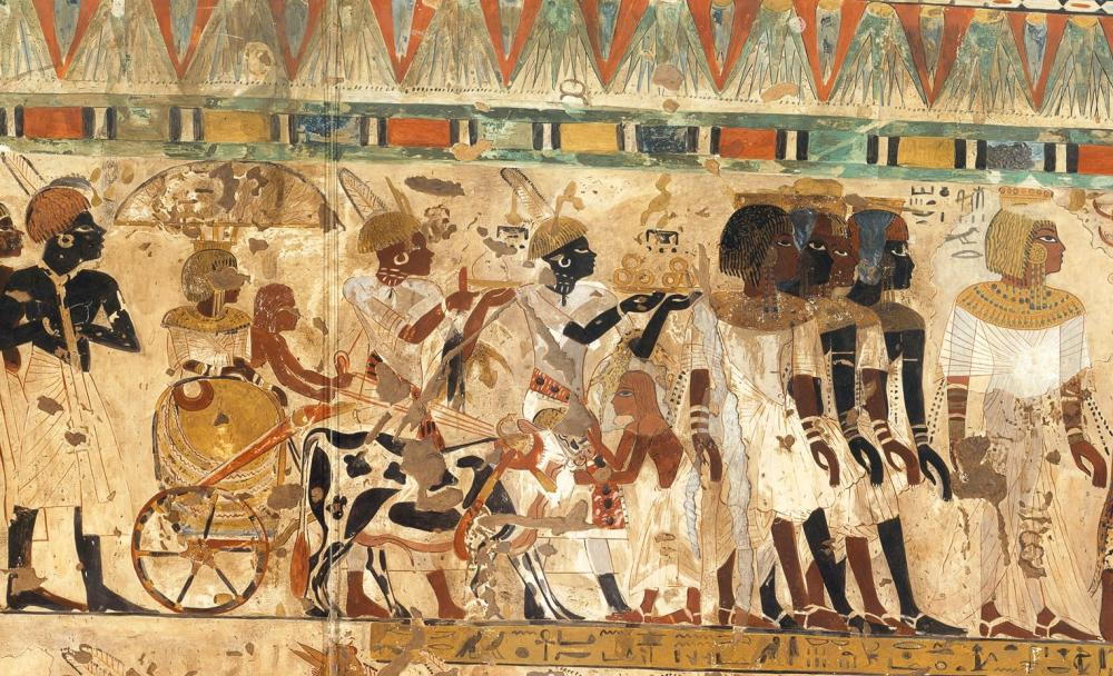 Chariot detail Kushite tribute New Kingdom Thebes TT40 Ancient Egypt Nubian_Tribute_Presented_to_the_King,_Tomb_of_Huy_MET_DT221112.jpg