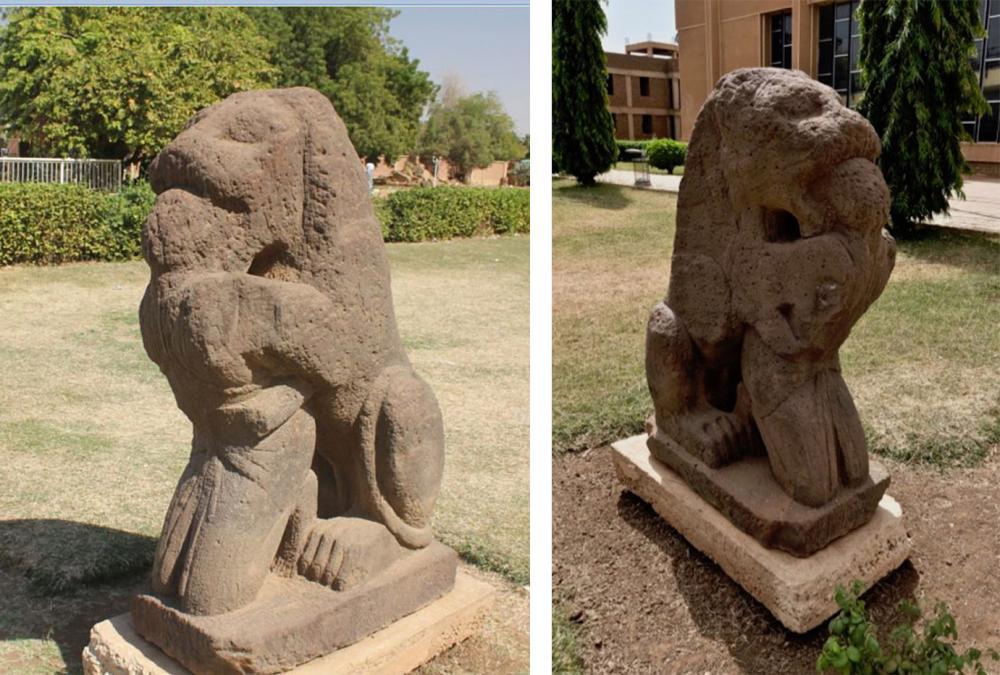 Kush lion statue Sudan Nubia History Africa bound captive prisoner execution sudan-khartoum-statue-of-lion-savaging-a-prisoner-carved-from-ferruginous-APY8MF.jpg