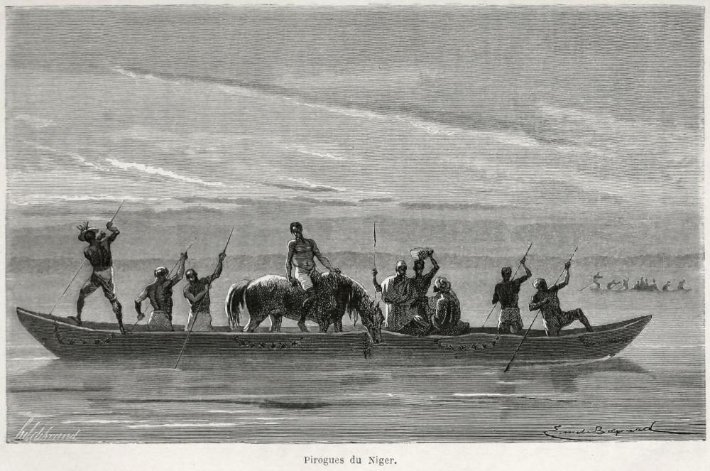 Transporting a horse on the niger river canoe boat Mali Africa history voyagedanslesoud00mage_0221.jpg