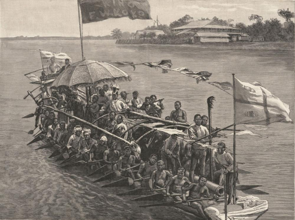 King Koko in His War Canoe cannon artillery Africa Niger river Delta Southern Nigeria military royal ship boat water war warriors fighters soldiers.jpg