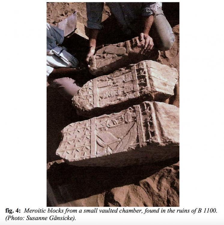 Meroitic blocks from vaulted chamber in the ruins of B 1100 Gebel Barkal jebel Kingdom of Kush Kushite Nubia Sudan.jpg