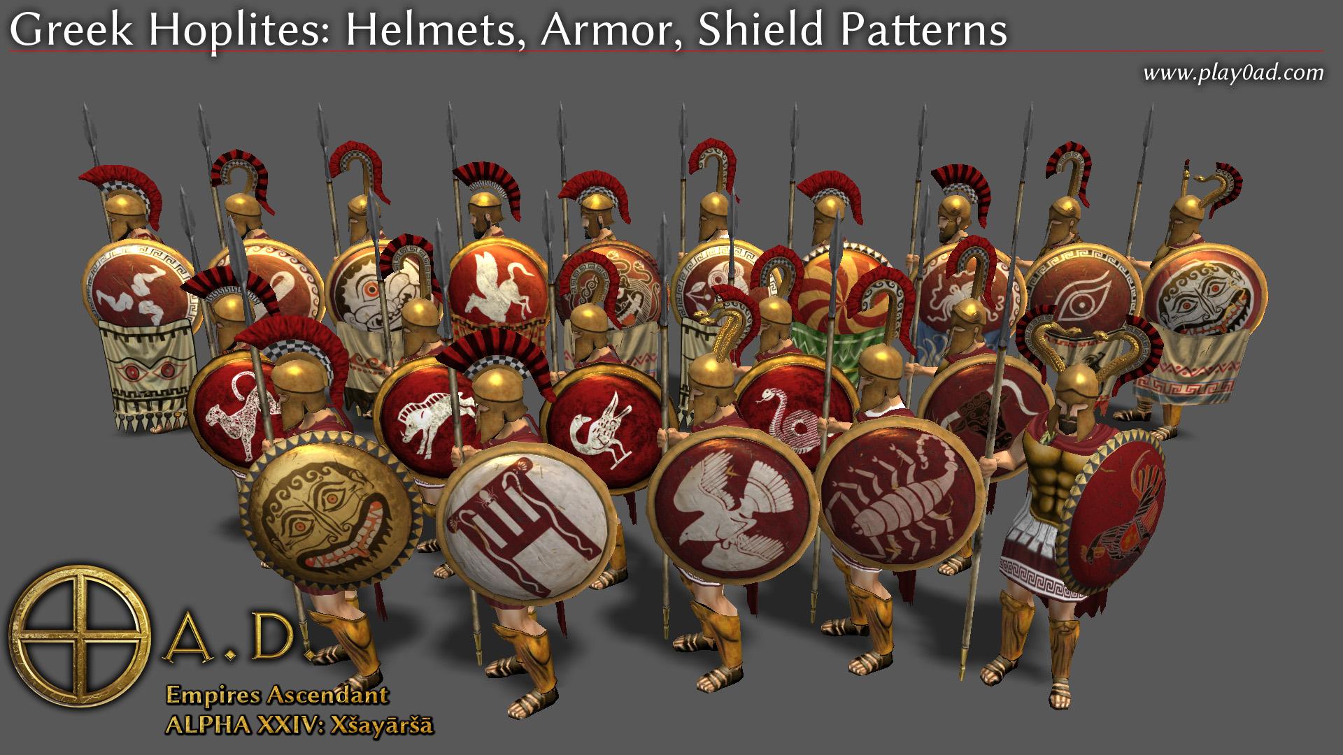 Greek Hoplites: Helmets, Armor, Shield Patterns