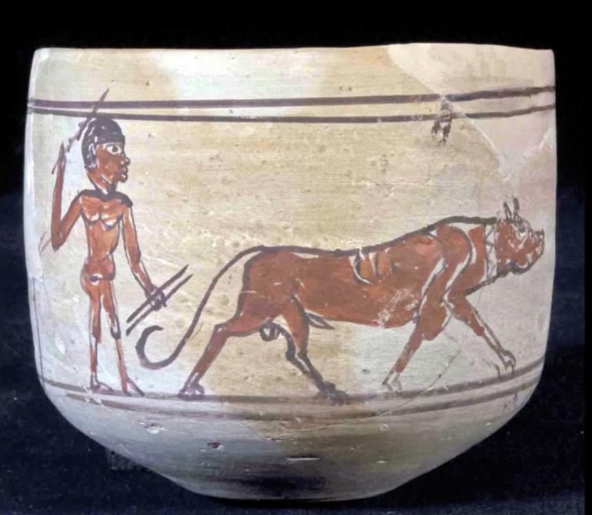 Kingdom of Kush Kushite Meroitic pottery man with javelins and dog.jpg