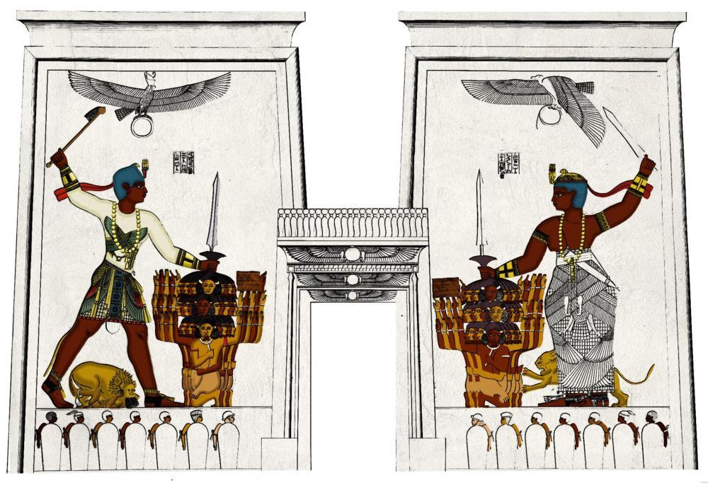 pylon relief texture kush naqa lion temple apedemak Natakamani Amanitore experiment.jpg
